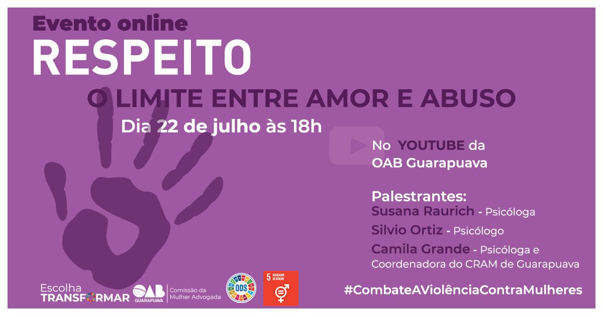 No Dia de Combate ao Feminicídio, Subseção promoverá live sobre respeito